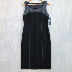 NWT Lafayette 148 leather trim midi sheath dress 8